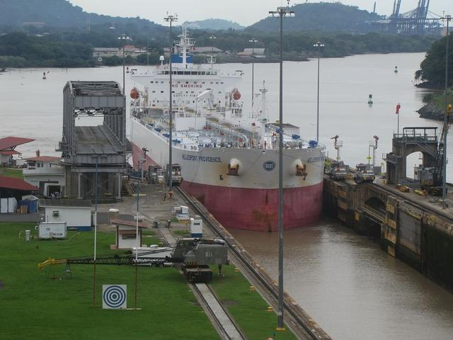 First ship coming into the lock.