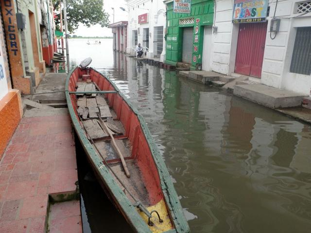 Most low-lying streets are flooded.