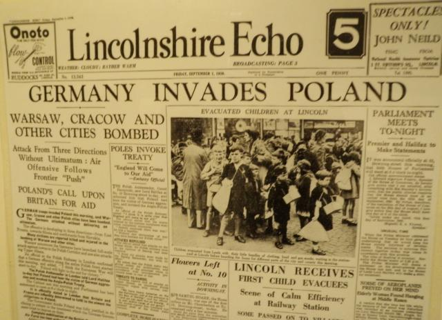 Old newspaper in the Museum of Lincolnshire Life
