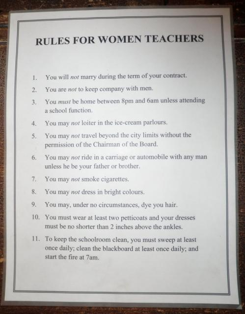 Amazing what female teachers had to deal with back then